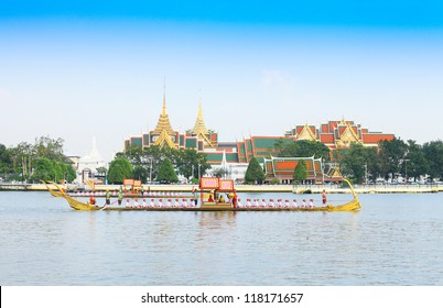 "BANGKOK,THAILAND-NOVEMBER 6: ""Ekkachailaothong"" was in the last dress rehearsal of the Royal Barge Procession for the Royal Kathin Ceremony at Chaopraya river on November 6,2012 in Bangkok,Thailand"