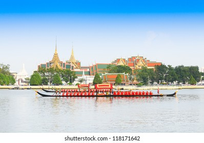 "BANGKOK,THAILAND-NOVEMBER 6: ""Thongkwanfa"" was in the last dress rehearsal of the Royal Barge Procession for the Royal Kathin Ceremony at Chaopraya river on November 6,2012 in Bangkok,Thailand"