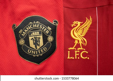 BANGKOK,THAILAND-OCTOBER 17: Logo of Manchester United and Liverpool on the Jersey on October 17,2019. They will Face Each Other on EPL  This Weekend at Old Trafford