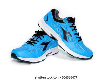 BANGKOK,THAILAND-October 2 ,2016:Diadora new blue ultra boots shoes for running -illustrative editorial