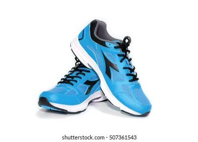 BANGKOK,THAILAND-October 2 ,2016:Diadora new blue ultra boots shoes for running- illustrative editorial