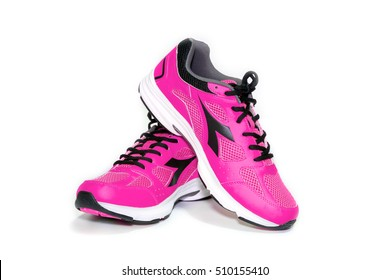 BANGKOK,THAILAND-October 2 ,2016:Diadora new pink ultra boots shoes for running on white background -illustrative editorial