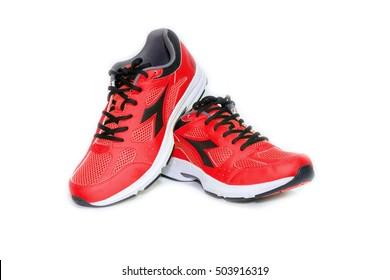BANGKOK,THAILAND-October 2 ,2016:Diadora new red ultra boots shoes for running-illustrative editorial