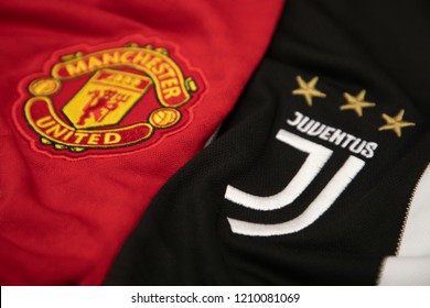 BANGKOK,THAILAND-OCTOBER 23: Logo of Manchester United and Juventus on the Jersey,.Both of them will face each other in UCL with the come back of Ronaldo to Oldtrafford  on October 23,2018.