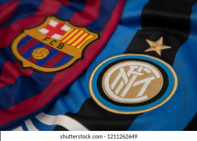 BANGKOK,THAILAND-OCTOBER 24: Logo of Barcelona and Inter Milan on the Jersey.Both of them will face each other in UCL tonight  on October 24,2018.