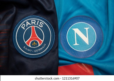 BANGKOK,THAILAND-OCTOBER 24:PSG Paris Saint German and Napoli on the Jersey.Both of them will face each other in UCL tonight  on October 24,2018.