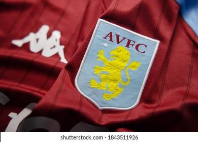 BANGKOK,THAILAND-OCTOBER 29: View of Aston Villa Football Crest on the New Jersey on October 29,2020