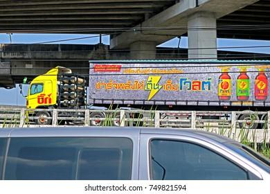 BANGKOK-THAILAND-OCTOBER 30 : Transportation truck on highway, October 30, 2017 Bangkok, Thailand