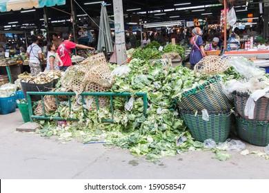 BANGKOK,THAILAND-OCTOBER 6:Pile of vegetable throw away as garbage at fresh-food market on October 6,2013 in Bangkok Thailand