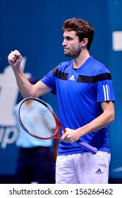 BANGKOK,THAILAND-SEP 28:Gilles Simon of France reacts during  match against Tomas Berdych of Czech Republic at Thailand Open 2013 on September28, 2013 at Impact Arena,Bangkok,Thailand