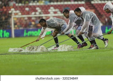 BANGKOK,THAILAND:September 2015:The field is filled with water in football Chang FA Cup round of 8 teams between SCG Mungthong UTD;Chiangrai UTD at SCG Stadium on September,23,2015inThailand.