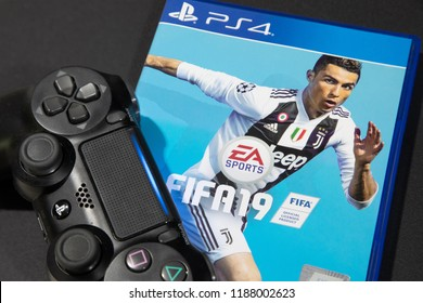 BANGKOK,THAILAND-SEPTEMBER 25: The New FIFA Football 2019 game on PS4 Console which just launch this month on September 25,2018