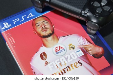 BANGKOK,THAILAND-SEPTEMBER 25: The New FIFA Football 2020 game on PS4 Console on September 25,2019