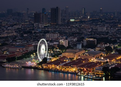 Bangkok,Thailand-September 29, 2018 : Harbor Facade of Asiatique The Riverfront. Asiatique The Riverfront is a large open-air mall in Charoen Krung Road, Bangkok, Thailand.