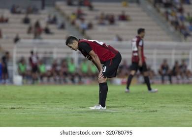 BANGKOK,THAILAND:September;2015:CLEITON SLILVA of Muangthong in football Thai Premier League between Osotspa M-150 Samutprakan and SCG Muangthong UTD,at Rajamangala Stadium on Sep,26,2015inThailand.