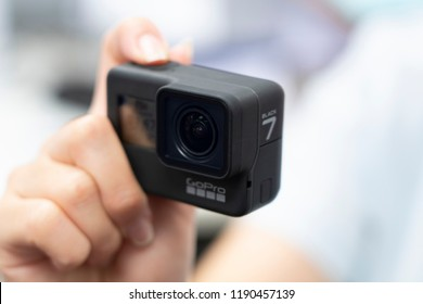 BANGKOK,THAILAND-SEPTTEMBER 28: Image of Hand Hold New GoPro HERO 7 Black with New  Hypersmooth Feature  Function on September 28,2018