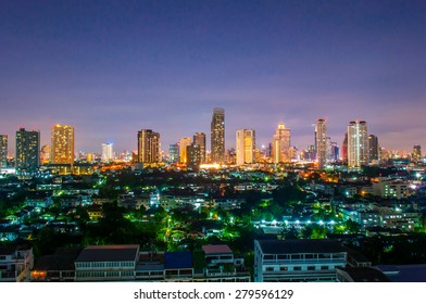Bangkok,thailnd-May 15, 2015: Landscape Night view at the top view of Bangkok, bangkok,thailand on may 15, 2015.