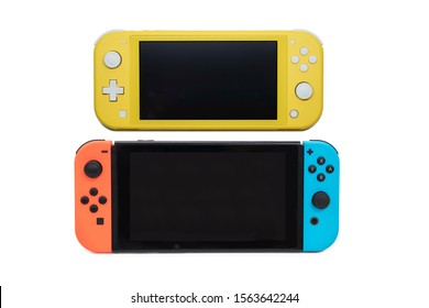 BANGKOK,THALAND-NOVEMBER 19:View of the new Nintendo Switch Lite Game with Nintendo Switch on November 19,2019