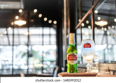 BANGKOK,TH-March 10,2017 Cold bottle and glass of Stella artois at bar and restaurant.