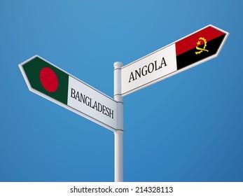 Bangladesh Angola High Resolution Sign Flags Concept