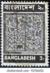 BANGLADESH - CIRCA 1973: A stamp printed in Bangladesh shows Embroidered Quilt (Nakshi Kantha), circa 1973