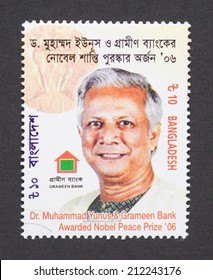 BANGLADESH - CIRCA 2007: a postage stamp printed in Bangladesh  showing an image of Nobel Peace prize winner Dr. Muhammad Yunus, circa 2007.