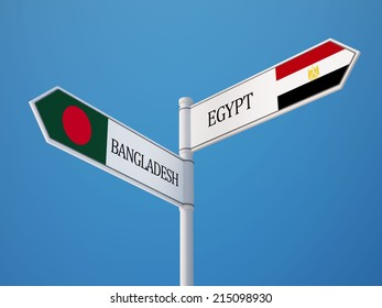 Bangladesh Egypt High Resolution Sign Flags Concept