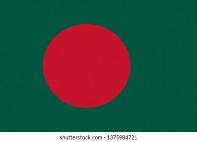Bangladesh fabric flag. Patriotic background. National flag of Bangladesh