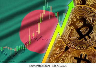 Bangladesh flag and cryptocurrency growing trend with many golden bitcoins