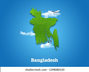 Bangladesh Map. Green grass, sky and cloudy concept.