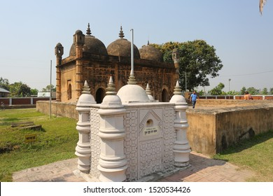 Bangladesh – March 2, 2019: Nayabad Mosque Side views, is located in Nayabad village in Kaharole Upazila of Dinajpur District, Bangladesh.