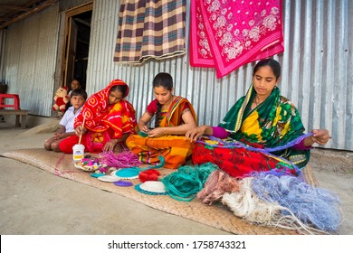 Bangladesh – May 14, 2018: Craft village where craftswomen are making home and office used showpiece on pineapple leaf fibers and banana fiber at Tangail, Bangladesh.