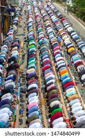Bangladesh – May 17, 2019: Muslims praying peacefully in Jummah namaj during friday prayer at Dhaka, Bangladesh.