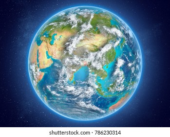 Bangladesh in red on model of planet Earth with clouds and atmosphere in space. 3D illustration. Elements of this image furnished by NASA.