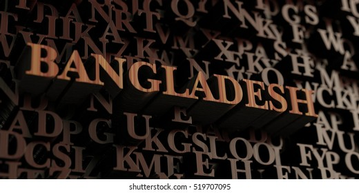 Bangladesh - Wooden 3D rendered letters/message.  Can be used for an online banner ad or a print postcard.