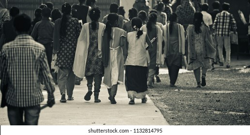 Bangladeshi children are walking together to go to school unique photo