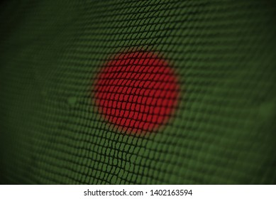 Bangladeshi flags textures painted on a nylon nets unique photo