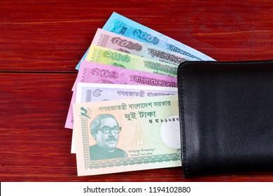 Bangladeshi money in the black wallet