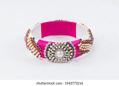 Bangles this bangles are hand made and very colourful. decorated with lace and cloth. in hand it looks very beautiful to women. - Shutterstock ID 1943773216
