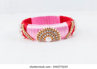 Bangles this bangles are hand made and very colourful. decorated with lace and cloth. in hand it looks very beautiful to women. - Shutterstock ID 1943773219