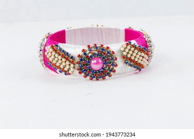 Bangles this bangles are hand made and very colourful. decorated with lace and cloth. in hand it looks very beautiful to women. - Shutterstock ID 1943773234