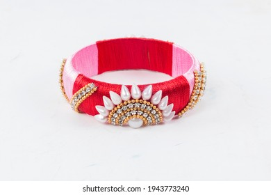 Bangles this bangles are hand made and very colourful. decorated with lace and cloth. in hand it looks very beautiful to women. - Shutterstock ID 1943773240