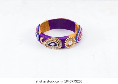 Bangles this bangles are hand made and very colourful. decorated with lace and cloth. in hand it looks very beautiful to women. - Shutterstock ID 1943773258