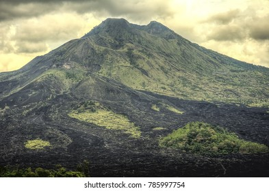 BANGLI, INDONESIA - MARCH 17: Mount Batur on March 17, 2017 in Bangli, Indonesia. Mount Batur (Gunung Batur) is an active volcano north-west of Mount Agung on the island of Bali.