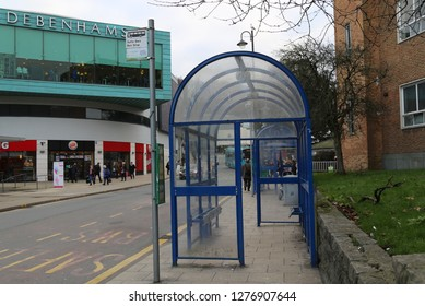 Bangor, Gwynedd, Wales, UK.  January 2, 2019. The bus station opposite Debenhams in the centre of town.