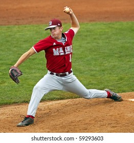 BANGOR, MAINE - AUGUST 16: Curtis Worcester pitches for Maine District 3 (Bangor East/West) at the 2010 Senior League Baseball World Series on August 16, 2010 in Bangor, Maine.