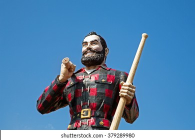 BANGOR, MAINE , USA - AUGUST 27 2014: Statue of the legendary character Paul Bunyan, a mythical giant lumberjack. In Bangor, USA 27th August 2014.
