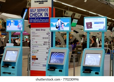 BANGPLI, SAMUTPRAKARN, THAILAND, DECEMBER 06, 2017; Fast way in rush hour, automated check in machines available for airline passengers,increase more convenience at Suvarnabhumi international airport.