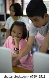 BANGPROK PATHUMTANI THAILAND JULY 2017 : Unidentified student study application training camp on July 3 2017 in Bangprok Pathumtani Thailand.