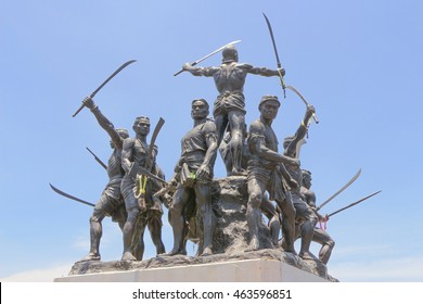 BANGRAJUN SINGBURI THAILAND - APRIL 18 2016 : Warrior statue of Bangrajun monument at Singburi Province Thailand